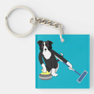 Border Collie Curling Keychain