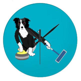 Border Collie Curling Large Clock