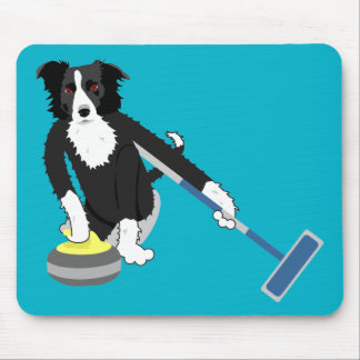 Border Collie Curling Mouse Pad