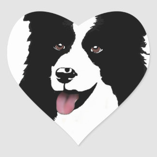 Border Collie Customize Text Background Color Heart Sticker