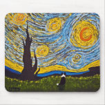 Border collie debajo de un cielo de Van Gogh Tapetes De Ratón