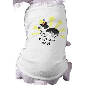 Border collie del cumpleaños playera sin mangas para perro