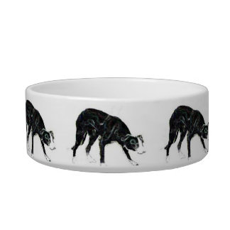 Border Collie Dish original drawing by LN Pettey Pet Food Bowls