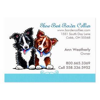 Border Collie Dog Breeder Pet Business Blue Linen Large Business Cards (Pack Of 100)