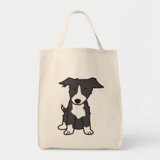 Border Collie Dog Cartoon Grocery Tote Bag