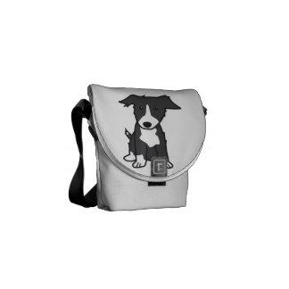 Border Collie Dog Cartoon Courier Bag