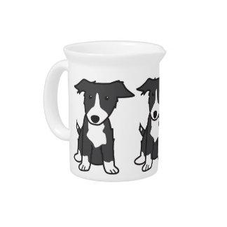 Border Collie Dog Cartoon Drink Pitchers