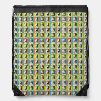 Border Collie Dog Cartoon Pop-Art Drawstring Bag