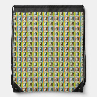 Border Collie Dog Cartoon Pop-Art Drawstring Bag
