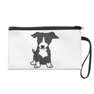 Border Collie Dog Cartoon Wristlet Purse