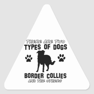 border collie DOG designs Triangle Sticker