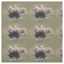 Border Collie Dog Herding Sheep Fabric