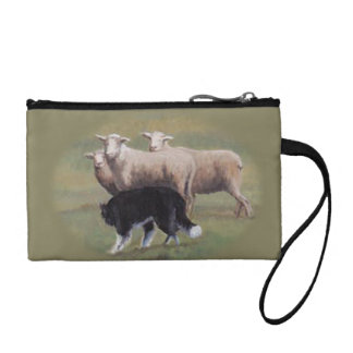 Border Collie Dog Herding Sheep Wristlet Coin Purs