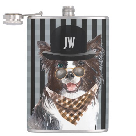 Border collie dog in bowler hat glasses scarf flask