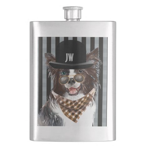 Border collie dog in clothes monogram fathers flask