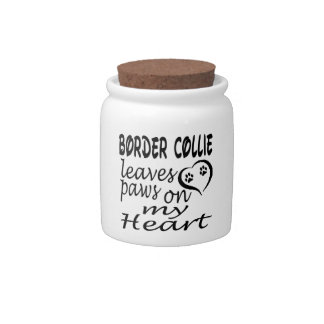 Border Collie Dog Leaves Paw On My Heart Candy Jar