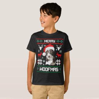 Border Collie Dog Merry Woofmas Christmas T-Shirt