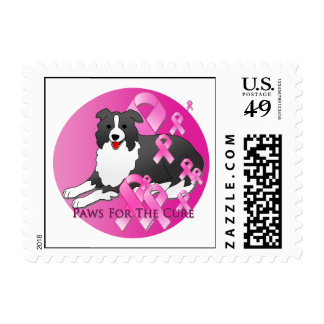 Border Collie Dog Pink Ribbon Stamp