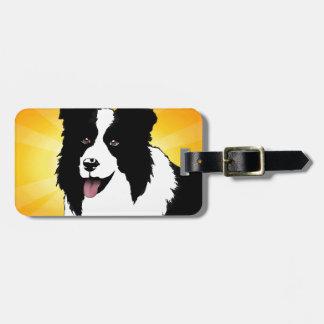 Border Collie Dog Pop Art Pet  Bright Customize Bag Tag