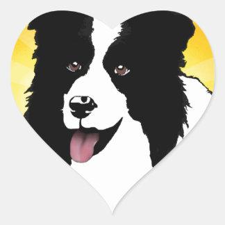 Border Collie Dog Pop Art Pet  Bright Customize Heart Sticker