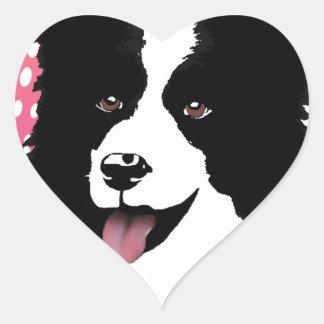 Border Collie Dog Pop Art Pet  Customize Heart Sticker