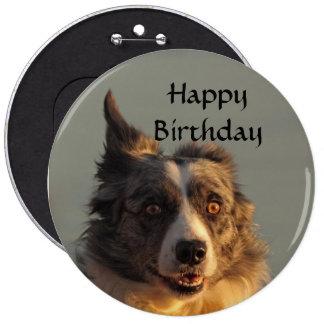 Border Collie Dog Running Button Badge