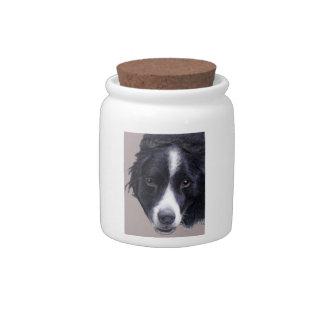 border collie dog treat jar candy jar