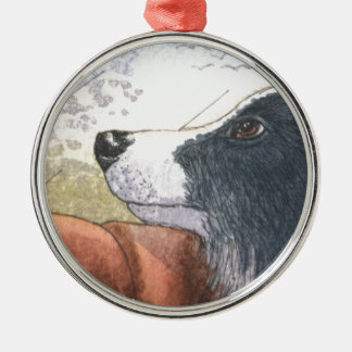 Border Collie dog waiting in car Metal Ornament