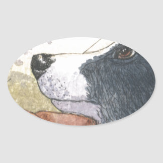 Border Collie dog waiting in car Oval Stickers