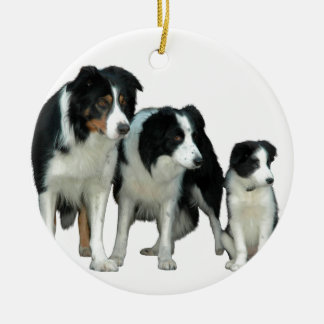 Border Collie Dogs Ceramic Ornament