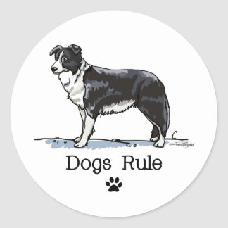 Border collie - dogs rule classic round sticker