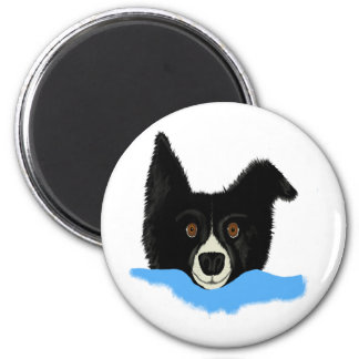 Border Collie Face 2 Inch Round Magnet