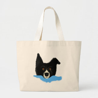 Border Collie Face Tote Bags