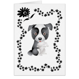 Border Collie Flowers Greeting Cards