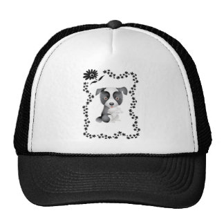 Border Collie Flowers Trucker Hats