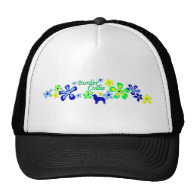 Border Collie Flowers Mesh Hats