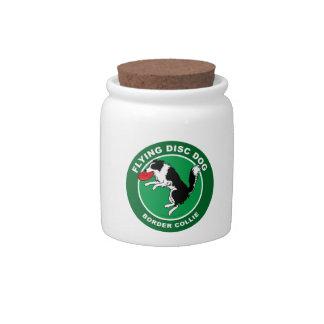 Border Collie Flying Disc Dog Candy Jar