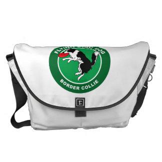 Border Collie Flying Disc Dog Large Messenger Bag