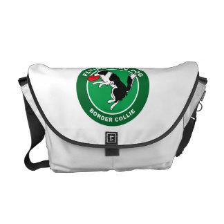 Border Collie Flying Disc Dog Medium Messenger Bag