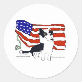 Border Collie for President Classic Round Sticker