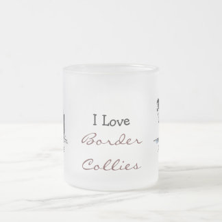 Border Collie Frosted Glass Coffee Mug