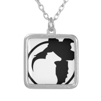 border collie got sheep silver plated necklace