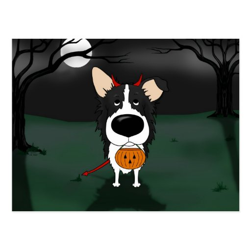Border collie Halloween Tarjeta Postal
