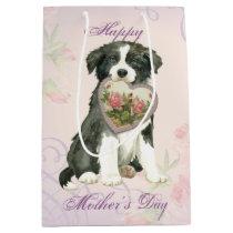 Border Collie Heart Mom Medium Gift Bag