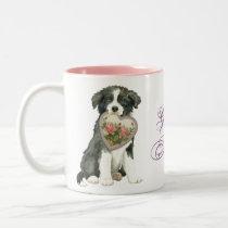 Border Collie Heart Mom Two-Tone Coffee Mug