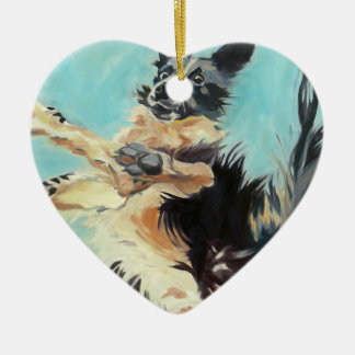 Border Collie Heart Shaped Ornament