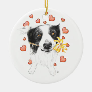 Border Collie Hearts Ceramic Ornament
