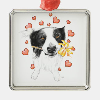 Border Collie Hearts Metal Ornament