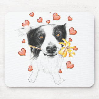 Border Collie Hearts Mouse Pad