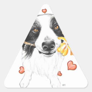 Border Collie Hearts Triangle Sticker